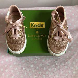 Kate spade keds rose gold glitter toddler size 5